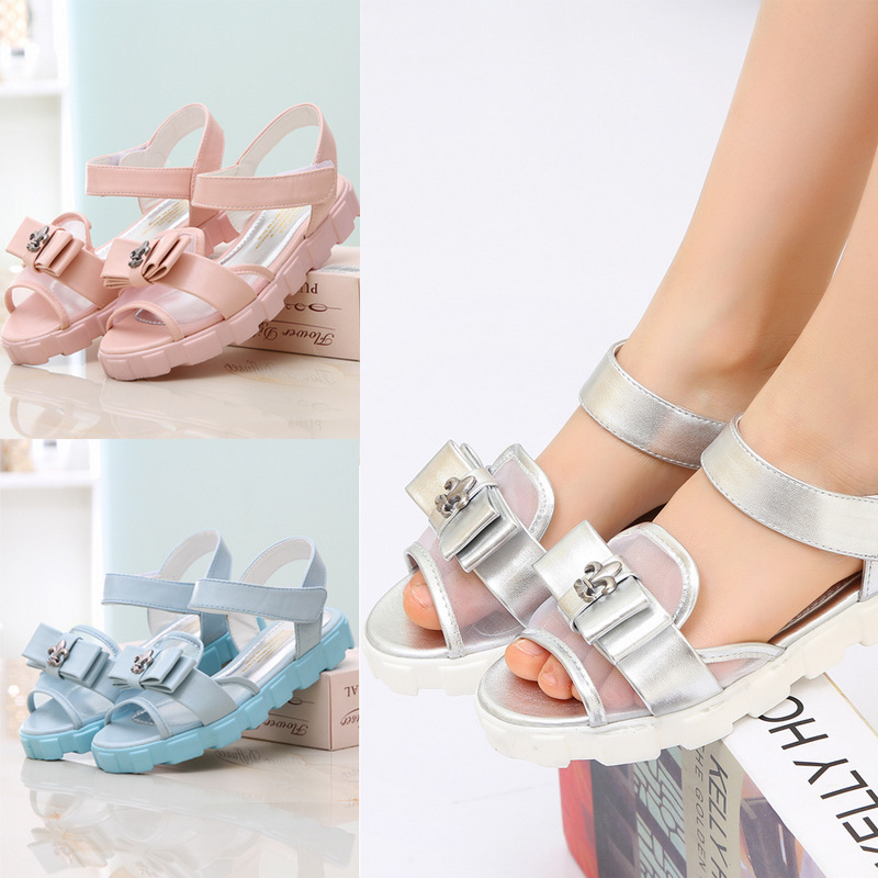 Koovan Children's Sandals 2020 New Shoes Summer Silver Sandals Girls Breathable Mesh Double-layer Bow Pretty Girl Princess Shoes