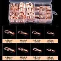 Conectores de Cable de batería SC, Terminal de soldadura prensada desnuda, terminales desnudas, sello de anillo de tubo de cobre estañado, 60 uds.