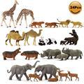 24 шт. модели железнодорожного Досуг Хо масштаба 1:87 роспись диких животных ПВХ верблюд, слон жираф тигра льва панды, медведя, оленя, бегемота ...