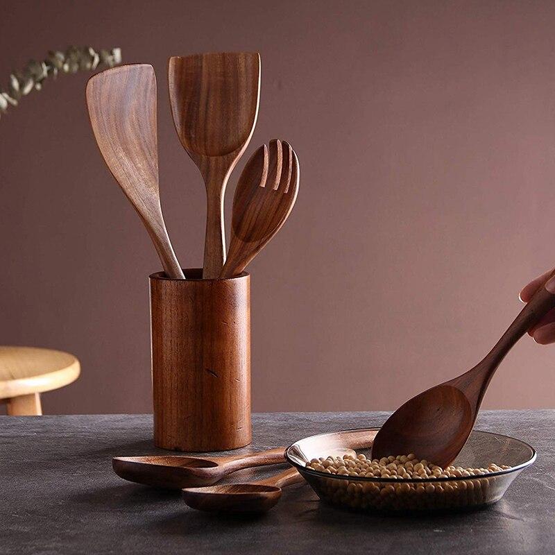 Teak Wooden Cooking Utensil Set