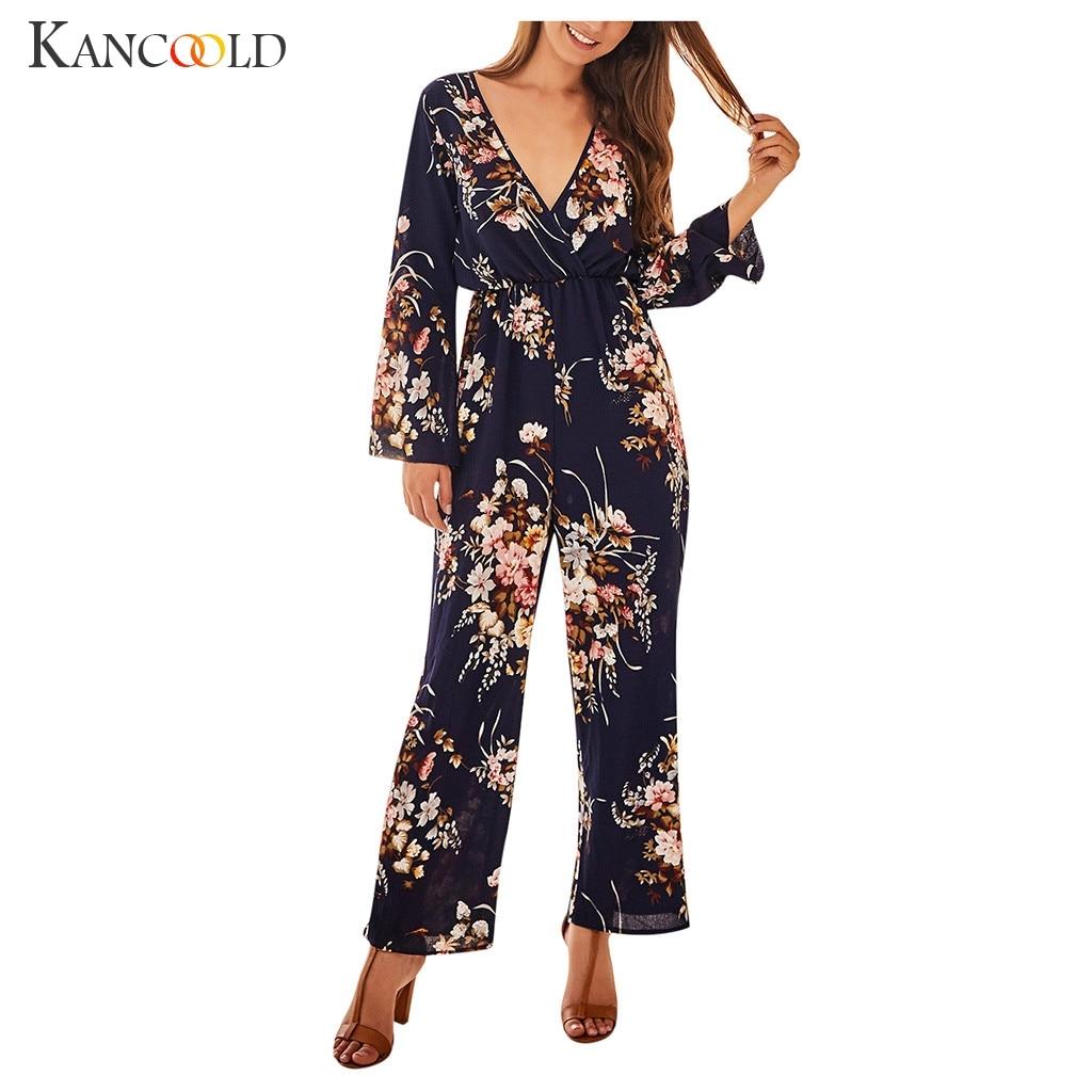 KANCOOLD Womens V-Neck Long Sleeve Jumpsuit Fashion Ladies Autumn Clubwear Floral Print Playsuit Party Jumpsuit Long Trousers
