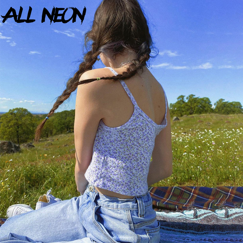 ALLNeon E girl Spaghetti Strap Floral Graphic Cropped Tops Y2K Fashion Printing Backless Purple Camis Tops