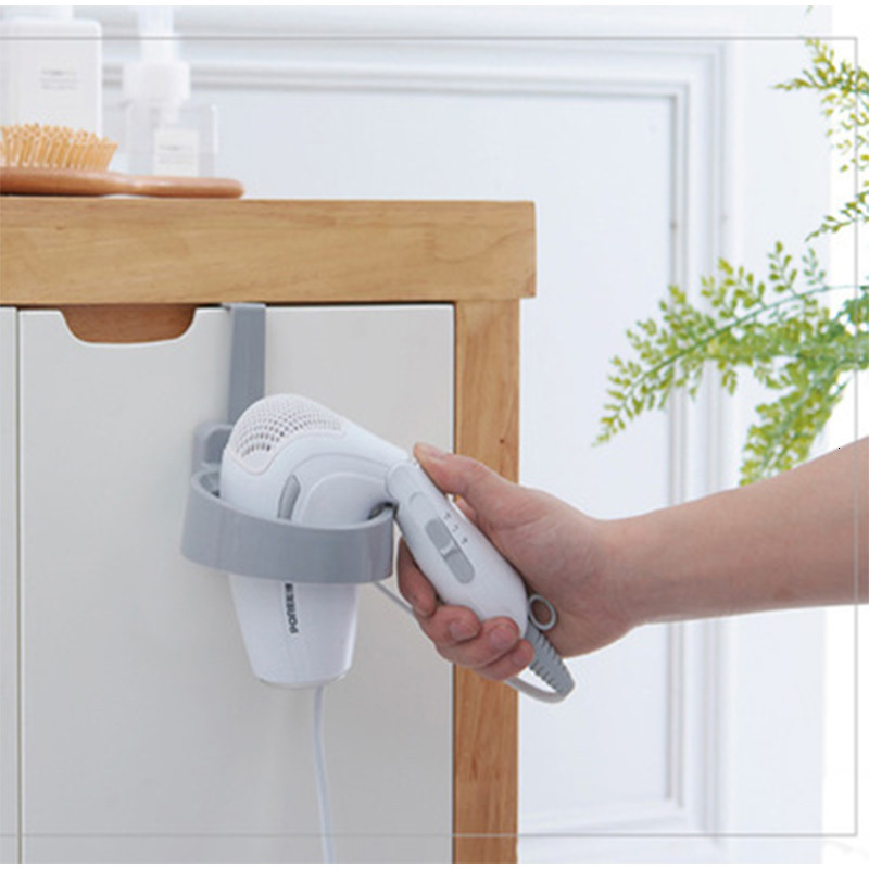 Hanging Back Door Storage Shelf Free Punch Hair Dryer Rack Creative Bathroom Storage Holder Shelf Plastic Door Hook Mount
