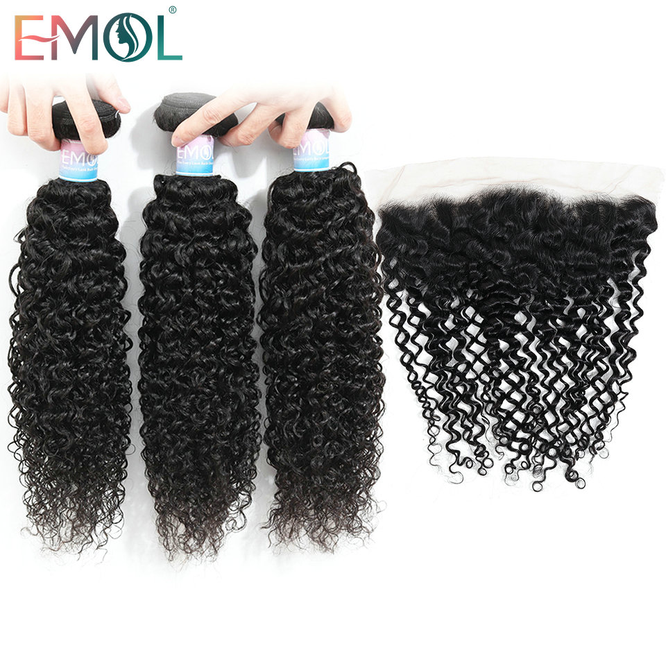 Emol Malaysian Kinky Curly Bundles With Frontal 13x4 Human Hair Bundles With Closure Non-Remy Hair Weave Bundles