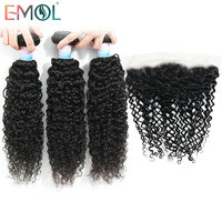 Emol Malaysian Kinky Curly Bundles With Frontal 13x4 Human Hair Bundles With Closure Non Remy Hair Weave Bundles