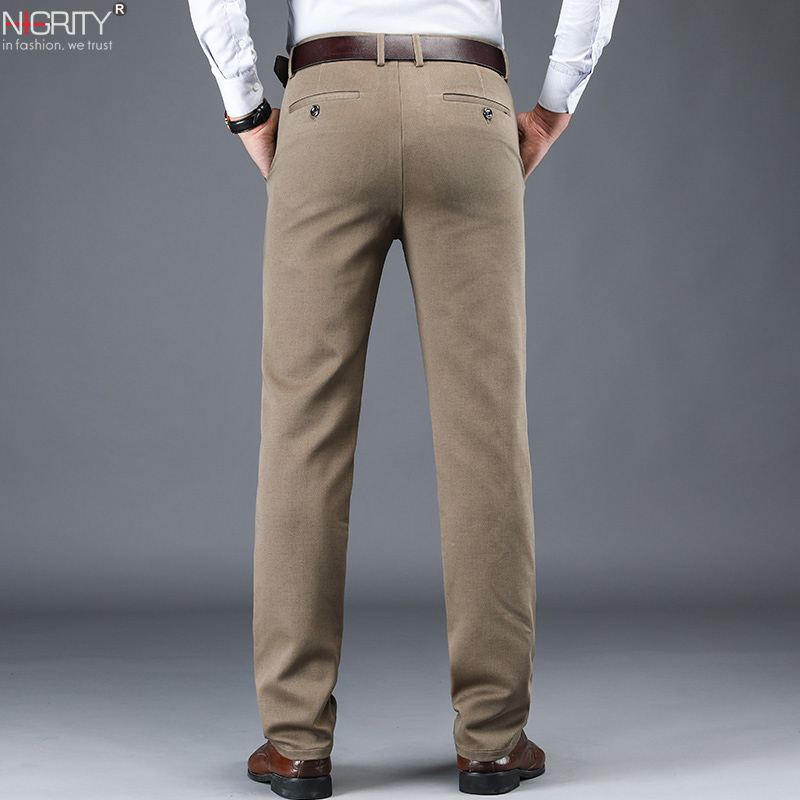 NIGRITY 2019 New Autumn Winter Men's Fashion Casual Long Pants Male Elastic Straight Formal Classic Thick Trousers Size 28-42