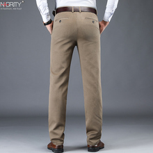NIGRITY 2020 New Autumn Winter Mens Fashion Casual Long Pants Male Elastic Straight Formal Classic Thick Trousers Size 28 42