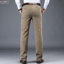 NIGRITY 2020 חדש סתיו חורף גברים של אופנה מזדמן ארוך מכנסיים זכר אלסטי ישר פורמליות קלאסי עבה מכנסיים גודל 28 42