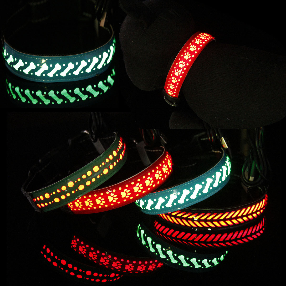 2018 Hot Selling LED Shining Pet Dog Collar Varved Hide Substance Different Floral Varved Neck Ring