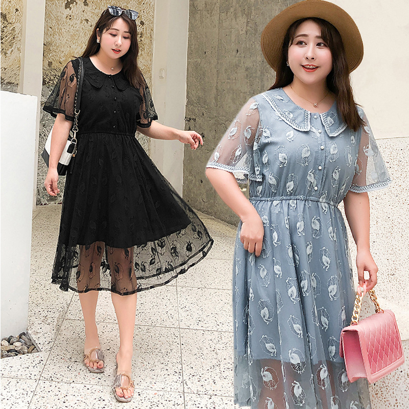 New Style Fat Mm Loose And Plus-sized Dress 2019 Korean-style Sweet Lace Solid Color Large Size Dress K692