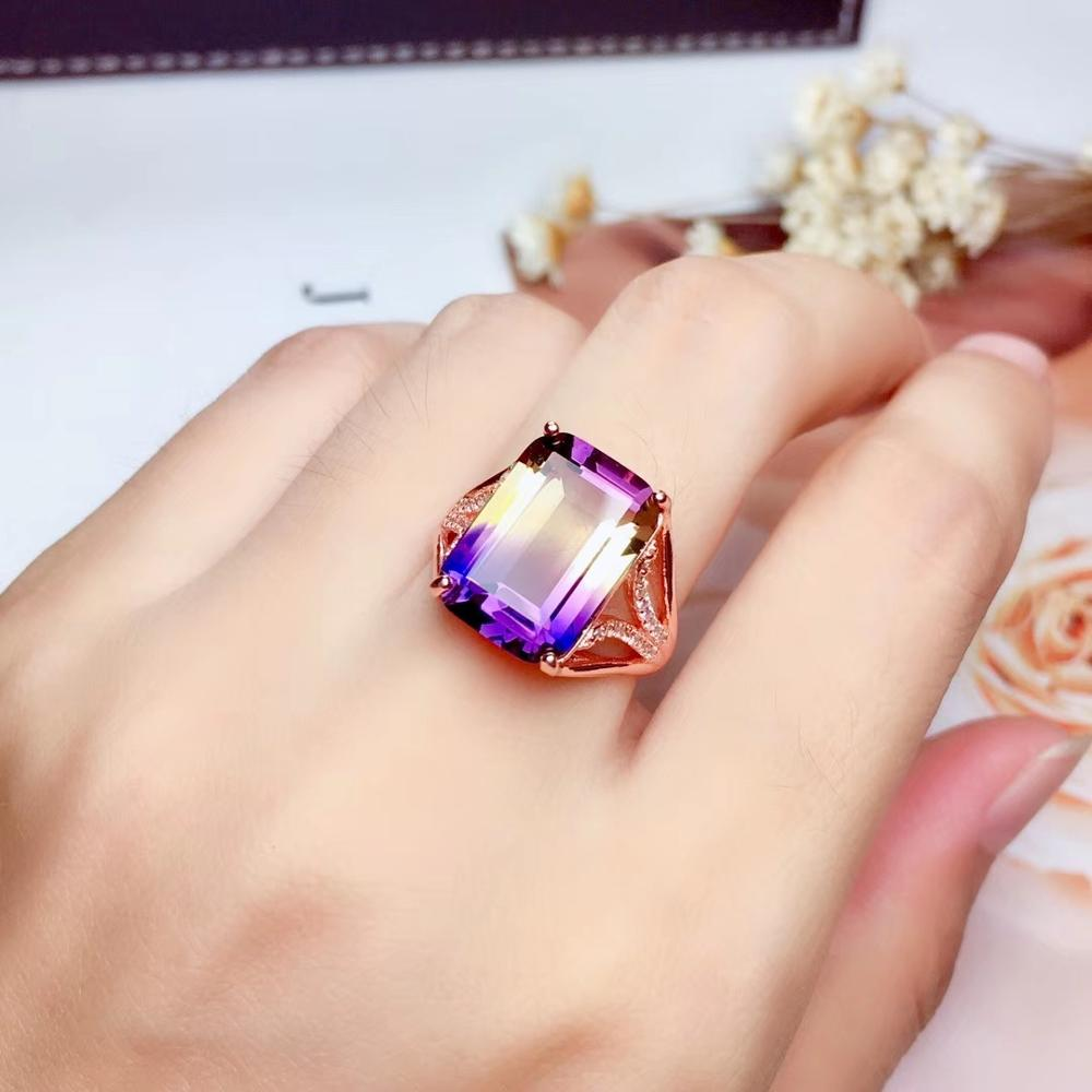 big size Natural  Amethyst Gemstone Ring with 925 silver jewelry for women hot selling gift real 925 silver gold plated lucky