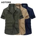 Рубашка мужская с коротким рукавом, хлопок, дышащая, отложной воротник, однотонная, в стиле милитари, Повседневная деловая, 5XL, лето 2021