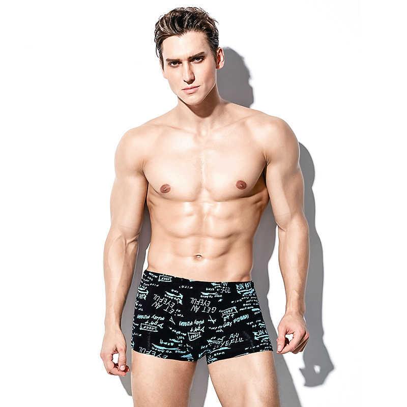 4 ชิ้น/เซ็ตคุณภาพสูงยี่ห้อBoxerชุดชั้นในบุรุษU Convexกางเกงขาสั้นเซ็กซี่กางเกงในชายพิมพ์กางเกงขาสั้นBreathable