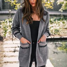 Women Cardigan Elegant Loose Causal Sweater Fashion Long Sleeve Tops NS