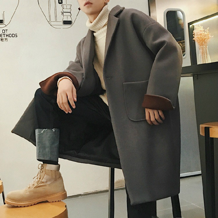 Fashion Men Thick Warm Blend Coat Woolen Overcoat Autumn Winter Loose Windbreaker Jacket Boys Grey Oversized Long Wool Coat XXL