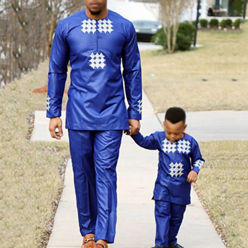 H&D african men kid boy clothing 2020 mens dashiki shirt africa bazin riche outfit clothes tops pant suits vetement africain(China)
