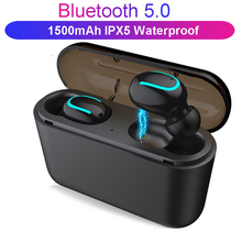 Wireless HD hands-free stereo earphone TWS Bluetooth 5.0 sports music game headset with charging box HQB-Q32 for xiaomi iphone mini ip8 tws bluetooth earphone true wireless earbud stereo music headset hands free with charging box for samsung iphone single