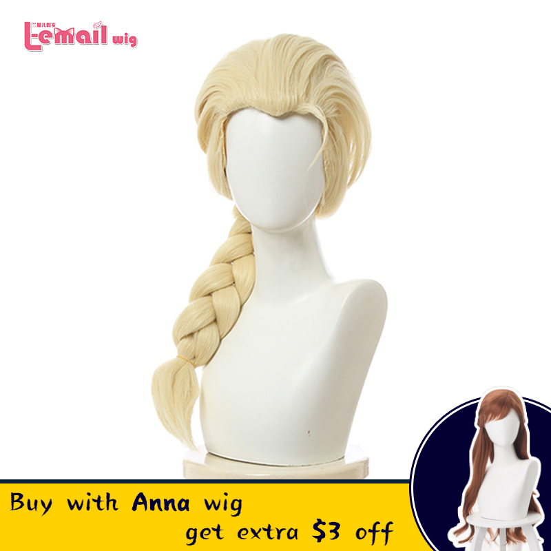 L-email Wig Princess Elsa Cosplay Wigs Long Blonde Straight Cosplay Wig Braided Wigs Halloween Heat Resistant Synthetic Hair