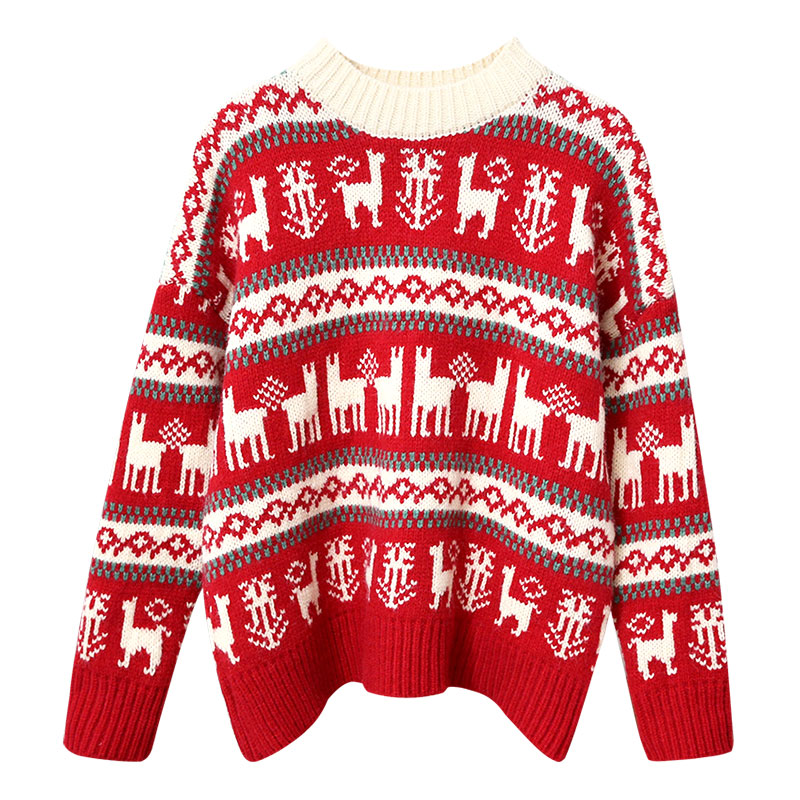 Christmas sweater women 2019 knitted red patern all match elegant pullovers thicken warm witner pulls outwear tops