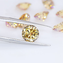 Yellow Color Moissanite Loose Stone 1 Carat(6.5mm) Gem Stone Beads DIY Jewelry Material Diamond Best Replacement