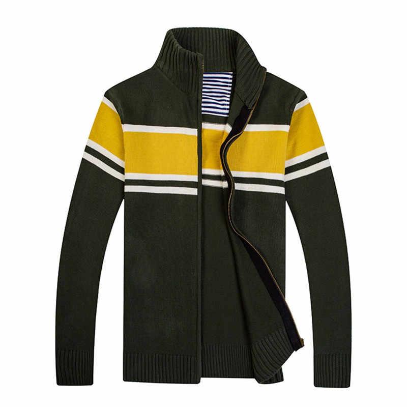 Padat Ritsleting Sweater untuk Pria Zipper Musim Semi Musim Dingin Beige Mantel Kasual Panjang Lengan Kaus Pria Jaket #2g15