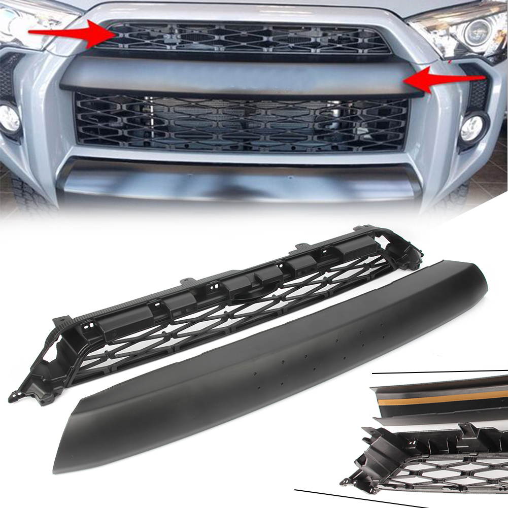 Upper Front Grille Hood Grill Set For <font><b>Toyota</b></font> <font><b>4Runner</b></font> 2014 <font><b>2015</b></font> 2016 2017 2018 2019 with Emblem ABS Accessories 2PCS image