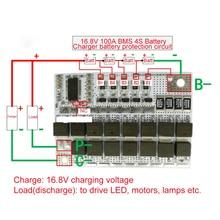 4S 100A BMS 16.8V 18650 Li-ion Li-POLYMER Lithium POLYMER LiMnO Battery Protection Board BMS 4S Charging Circuit Balancer Module 12v 100a 4s bms li ion lifepo4 life lmo lithium battery 18650 li ion charger battery protection circuit board 14 4v 14 8v 16 8v