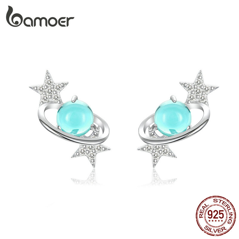 Bamoer Blue Planet With Star Stud Earrings For Women Authentic 925 Sterling Silver Design Universe Fashion Jewelry SCE701