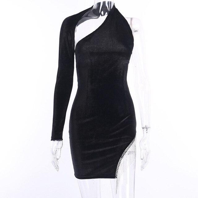 VeryYu Diamond Velvet Bodycon Dress Dresses Fashion  VerYYu