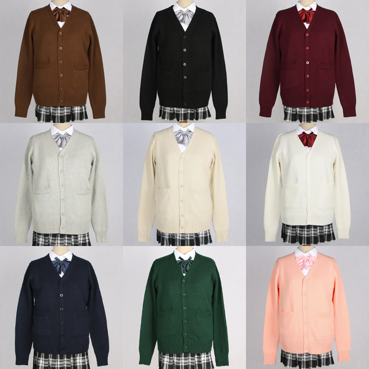 New Japanese Campus Pullover Long Sleeve Man And Women Students Uniform Sweater Knitted Jk Girls Boy High School Clothes Cotton