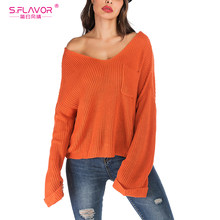 S.FLAVOR Orange Color Warm Women Sweater Sexy V-neck Loose Style Pullover Tops Autumn Winter Street Sweater For Female(China)