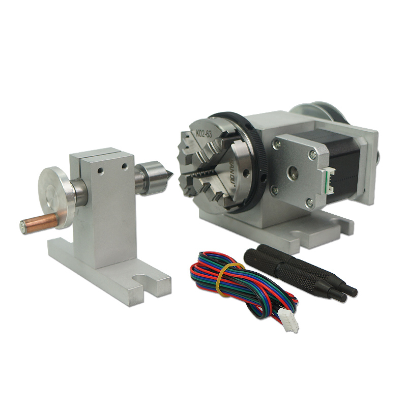 65mm Cnc Rotary Axis A Axis 4th Axis Tailstock 4 Jaw Chuck Live Center For Mini Cnc Machine Milling And Drilling Machine