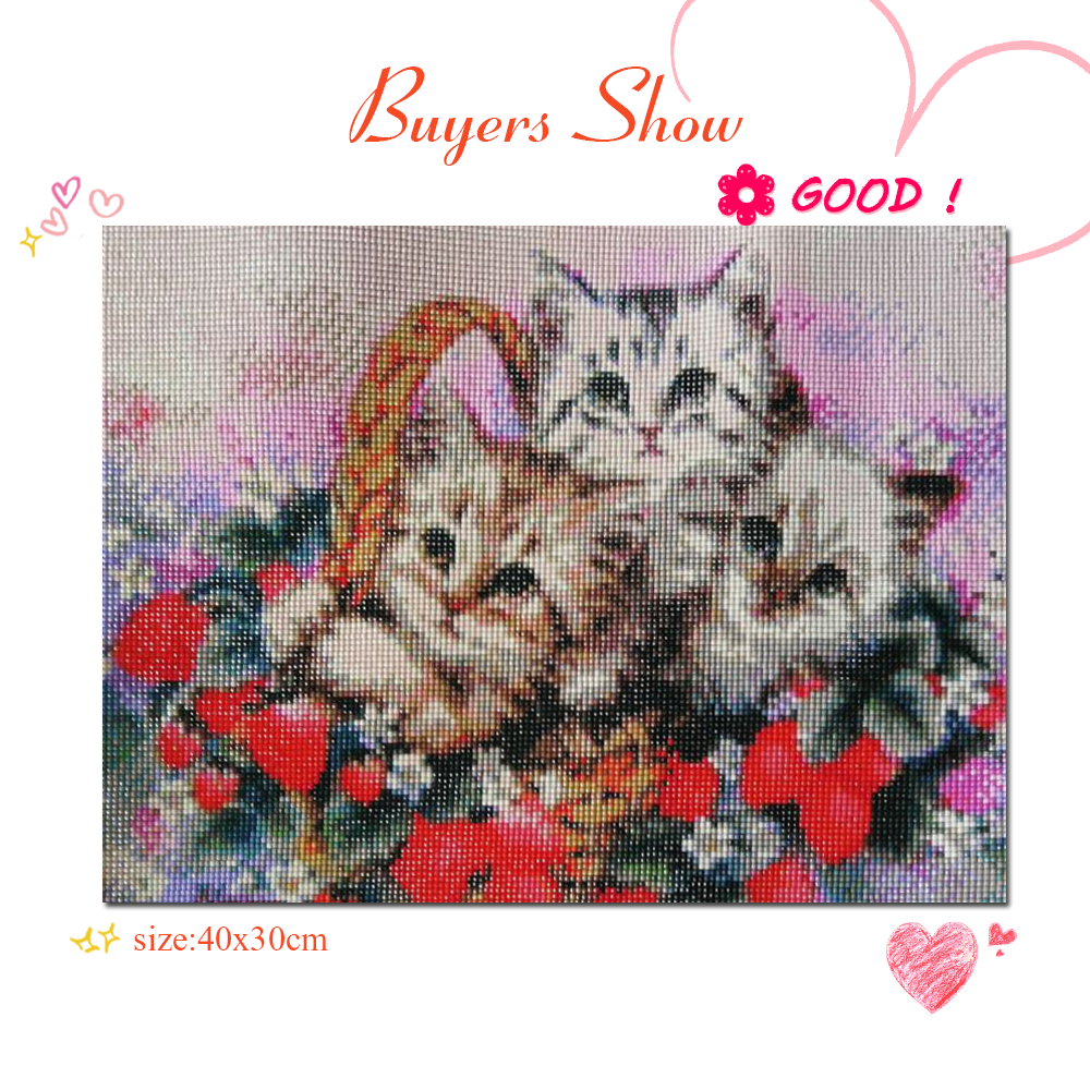 EverShine 5D Diamond Painting Full Drill Animal Diamond Embroidery Cat DIY Needlework Beaded Cross Stitch Handmade Gift-1