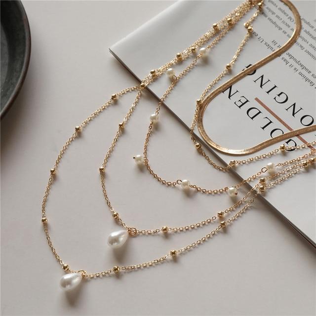 multi chain pearl  choker-necklace 4