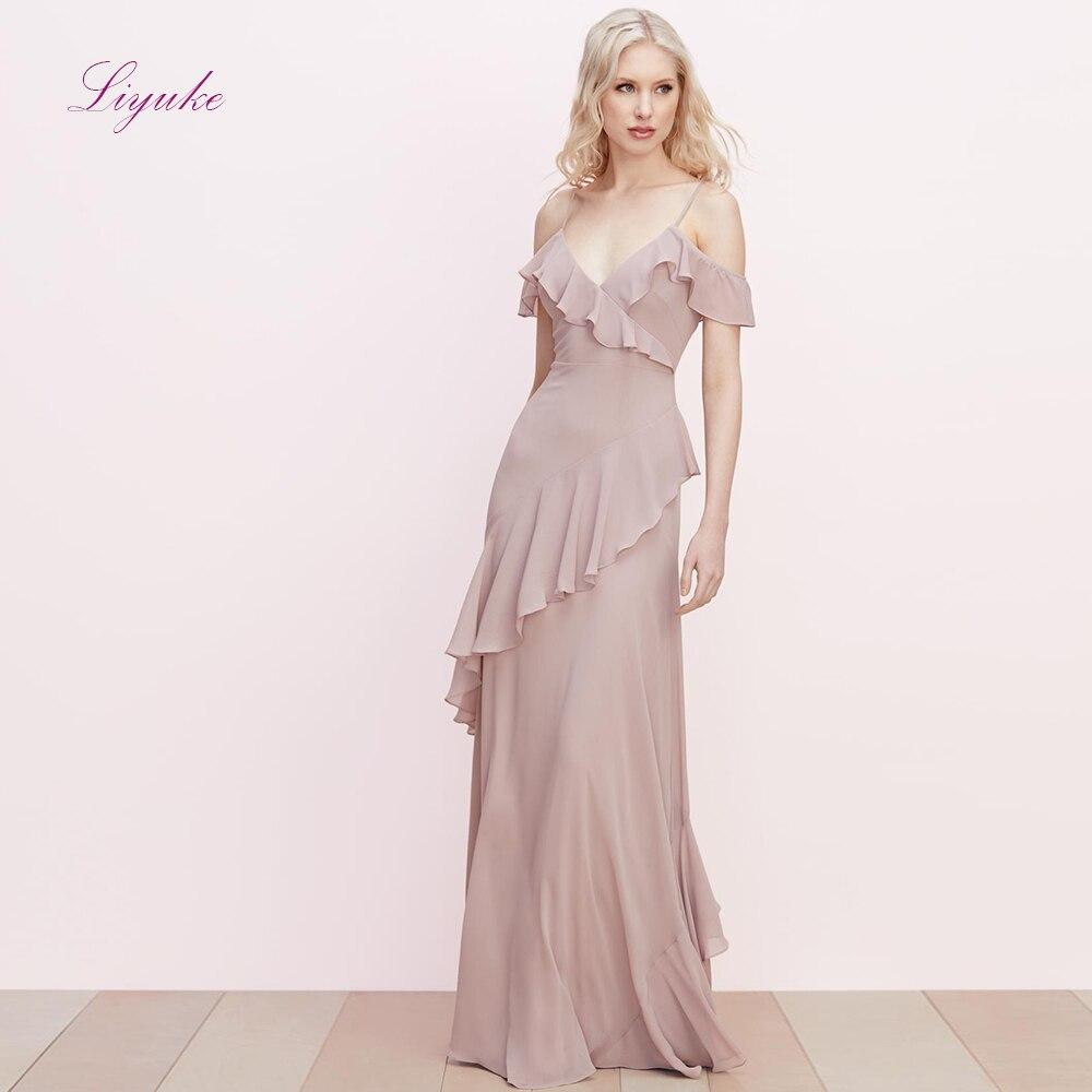 Liyuke a-ligne robe de demoiselle d'honneur longue robe v-cou bretelles Spaghetti en mousseline de soie volants dos nu personnalisé élégant demoiselle d'honneur