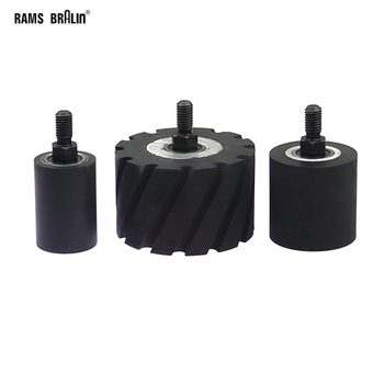 1 stück OD35/50/80mm Gummi Kontaktieren Rad Roller mit Welle M10 * 12mm Schleifen Schleifen maschine Gürtel Grinder Teil