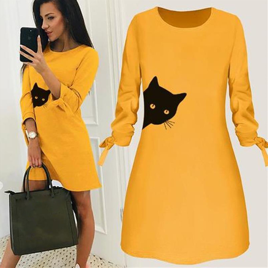 Women Fashion Printed Cat Animal Bow O Neck Long Sleeve Blouse Mini Dress#50