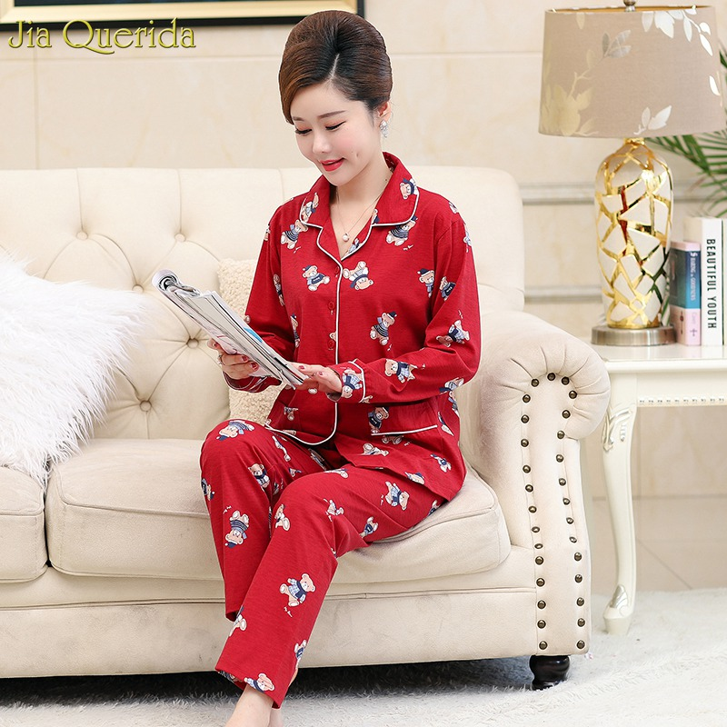 Cotton Homewear Women Red Cute Bear Printing Pajamas Christmas Red Ladies Pajamas Long Sleeves Sleepwear Suits Women Pyjama Set