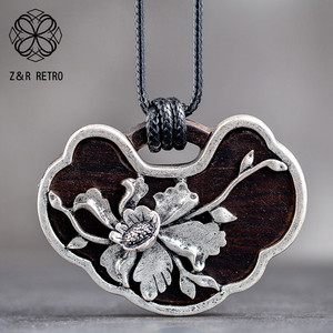 Винтажный деревянный кулон Lotus Decoration, женский кулон без шеи, длинное ожерелье для подарка матери на День Матери