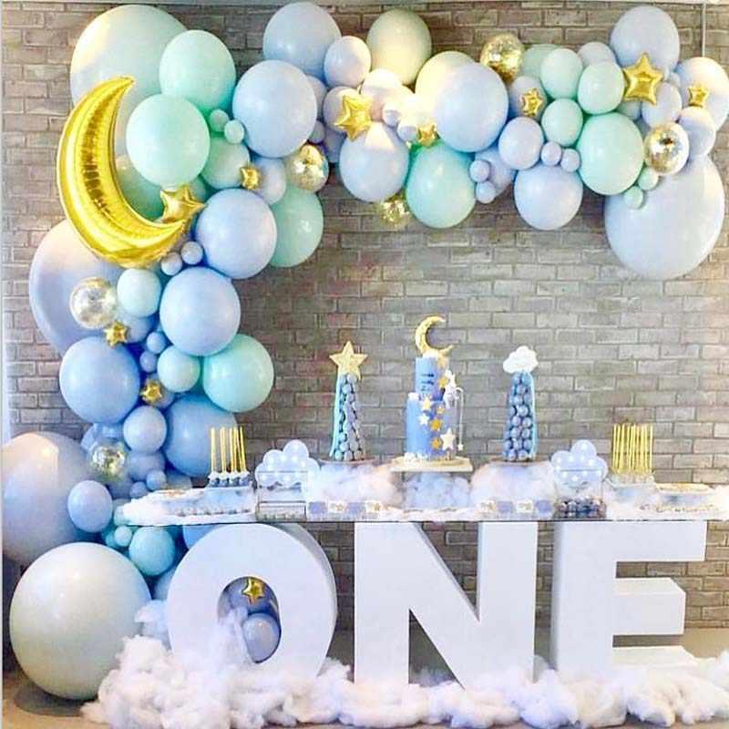 130pcs DIY Blue Gold Pastel ลูกโป่ง Garland Arch ชุด Christening Favors บอลลูน BabyShower Birtdhay Party ตกแต่ง Globos XN