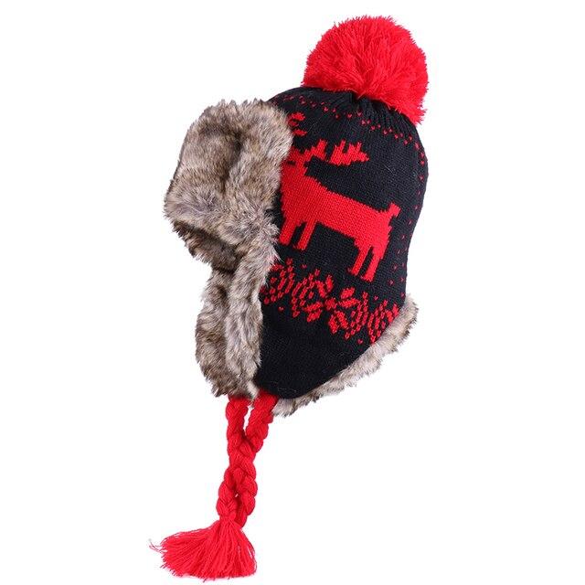 Bombacı şapkalar kadınlar kış yün kasketleri kaşmir kış kulaklığı şapka Faux tavşan kürk ponpon rus Ushanka Trapper polar kar kayak kapaklar