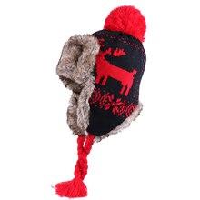 Sombreros de lana de invierno de bombardero para mujer, gorros con orejeras de Cachemira, pompón de pelo de conejo falso, gorros de esquí de lana de Ushanka