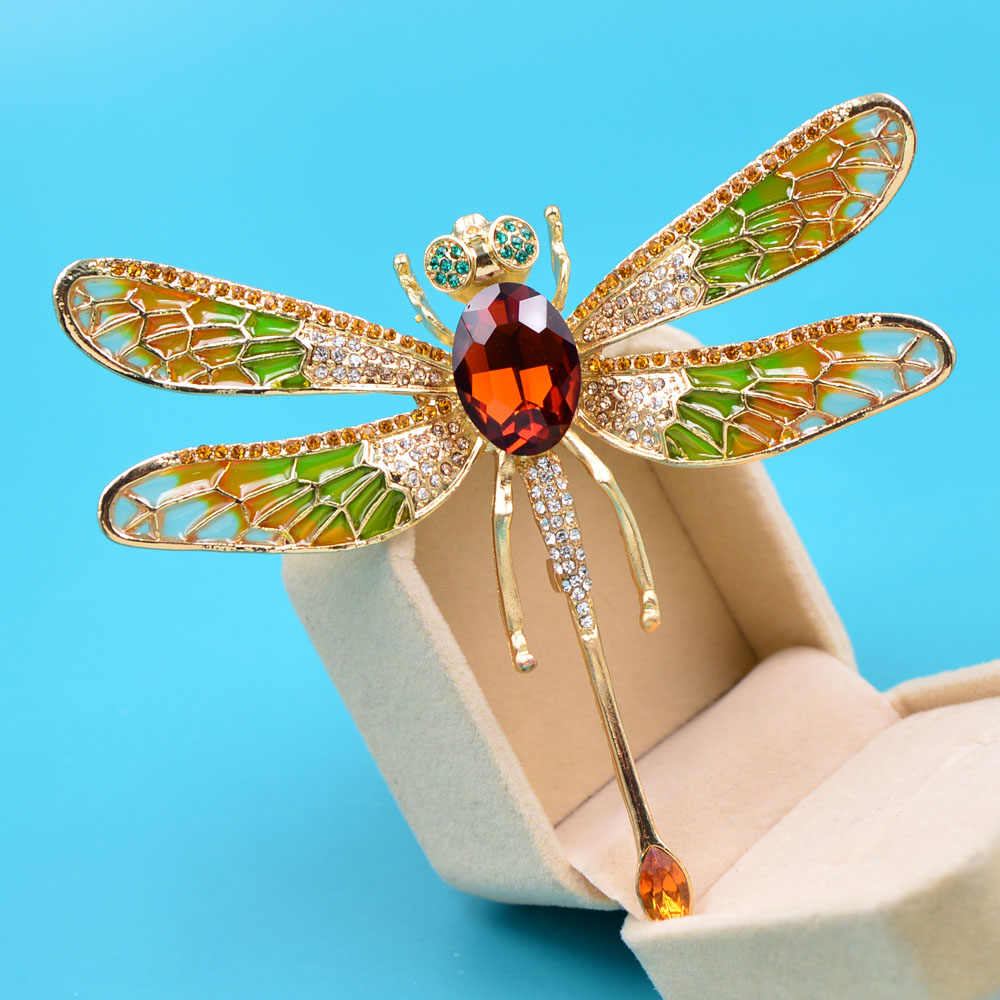 Cindy Xiang Nieuwe Collectie Zeer Grote Enamel Dragonfly Broches Voor Vrouwen Strass Fashion Insect Pin Mooie Sieraden Gift