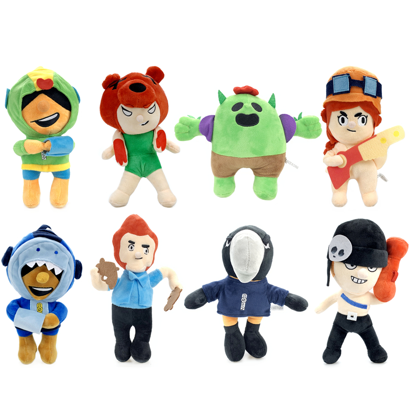 Brawl Stars Games 20cm Cartoon Hero Anime Figures Model Toys Spike Shelly Leon Cute Plush Dolls Boy Girl Toy Child Birthday Gift