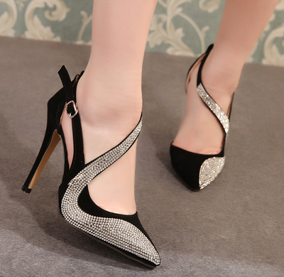 2019 New Rhinestone Pointed High Heel Women's Fine With Color Matching Shallow Mouth Single Shoes