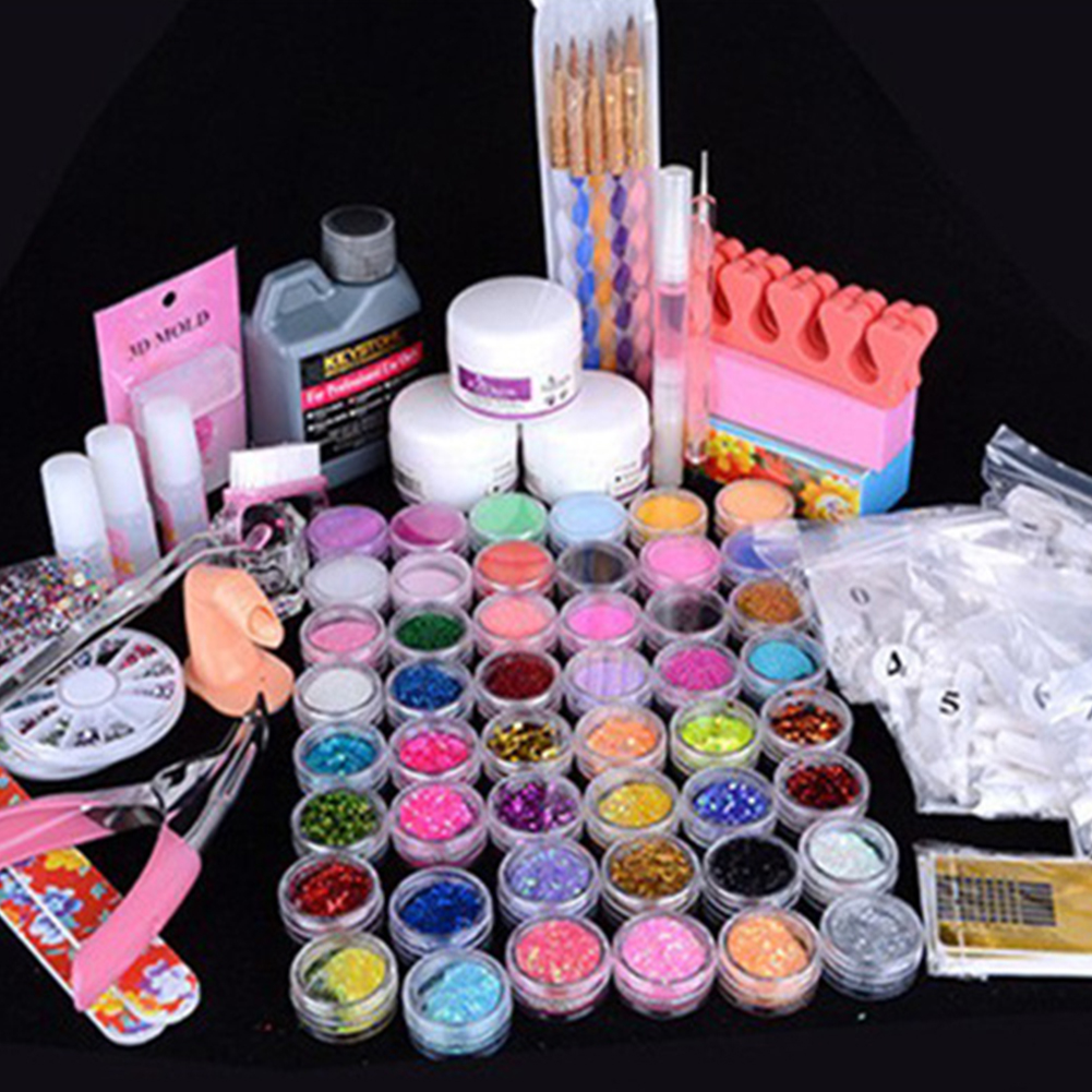Nail Art Set Crystal Liquid Flash Powder Sequins Pearl Point Pen DIY Manicure Tools Sets in Stickers Decals from Beauty Health