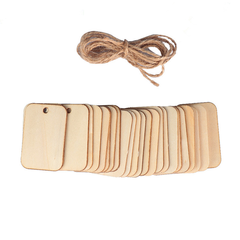 25pcs Wooden Label Nature Wood Slice Gift Tags Blank Rectangle Wooden Hanging Tags Label With Hemp Ropes For Wedding Party Xmas