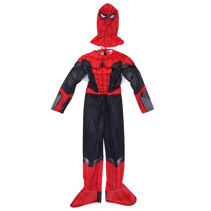 O mais novo terno de aranha criança marvel spider-boy longe de casa super-herói músculo crianças dia das bruxas truque-ou-tratamento cosplay traje
