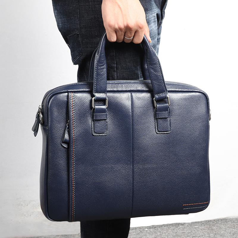 Nesitu A4 Coffee Blue Black Genuine Leather  14'' Laptop Office Men Briefcase Handbag Business Messenger Bags Portfolio M255605