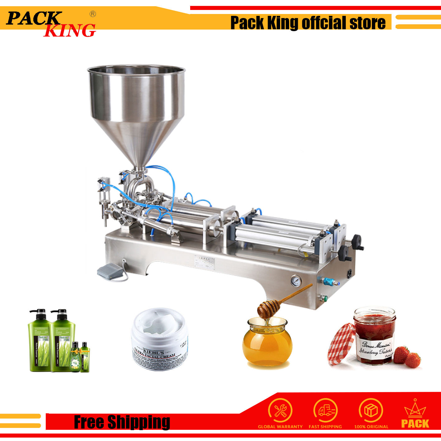 1000ml Model Liquid Paste Filling Machine Pneumatic Semi Tomato Sauce Filler Double Heads Cylinders Shampoo Lotion Cream Piston